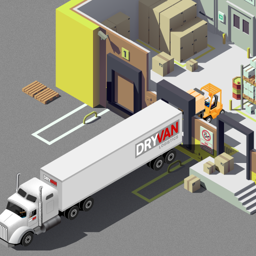 An illustration of one of our DRYVAN trailers being loaded at a client's warehouse, symbolizing Great Customer Service.